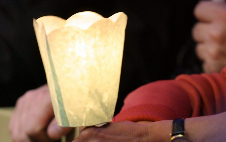 CITTA' DEL VATICANO 31-05-2007 FEDELI IN PREGHIERA DURANTE LA RECITA DEL ROSARIO NELLA GROTTA DI LOURDES ALL ' INTERNO DEI GIARDINI VATICANI
