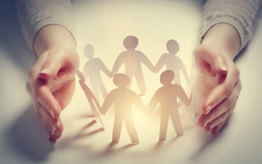 Protezione, Gruppo, unione, abbraccio, sostegno,braccia,mani, concettuale,aiuto